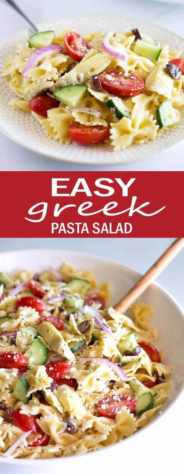 Make this Easy Greek Pasta Salad for your next summer BBQ, or make it a quick weeknight meal by adding chicken, shrimp or steak!
